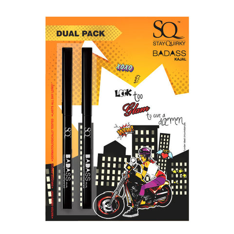 Stay Quirky Dual Kajal Pack, Black, BadAss 1 (0.25 g X 2)