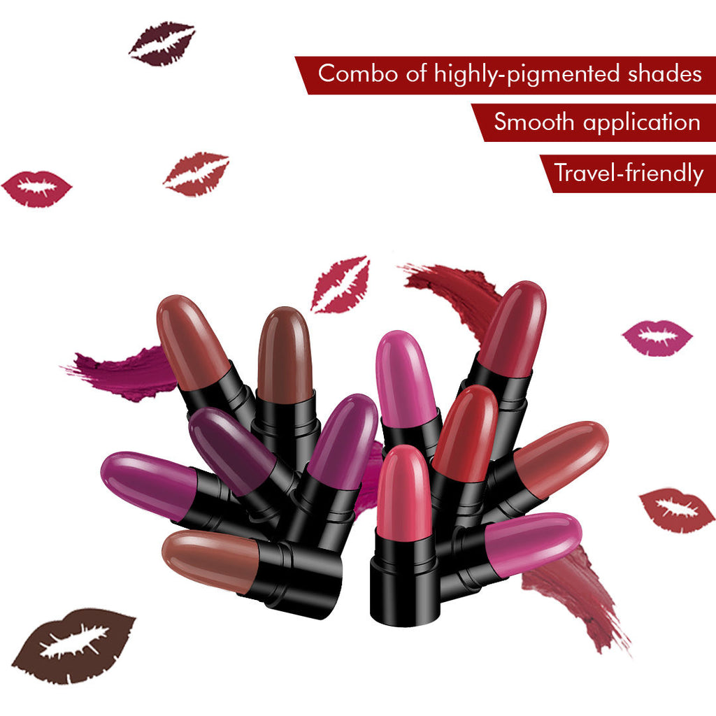 Stay Quirky Lipstick Soft Matte Minis - Lower Lip Bitin', Set of 12 Mini Lipsticks, Kit 6 (14.4 g)