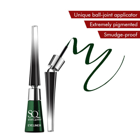 Stay Quirky Liquid Eyeliner, With Unique Ball-Joint Applicator, Green - Green Fire 3 (6.5 ml)