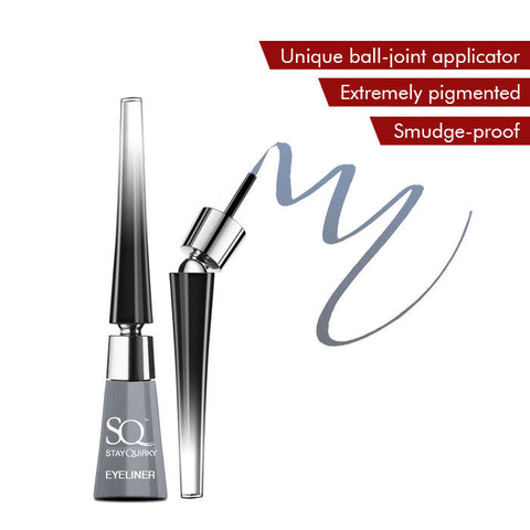 Stay Quirky Liquid Eyeliner, With Unique Ball-Joint Applicator, Silver - Show 'Em Your Gray Pleasures 6 (6.5 ml)