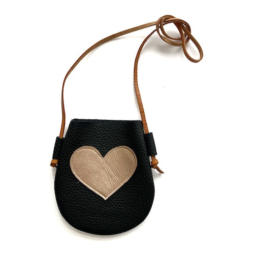 Black/Rose Gold Heart Purse