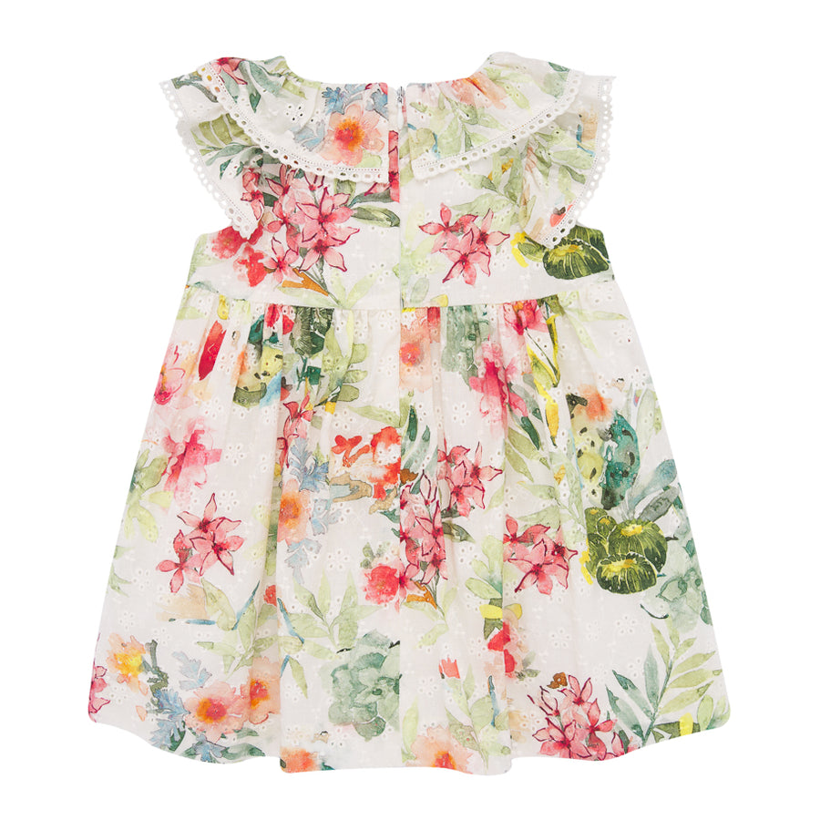 Ruffled Tropical Floral Dress