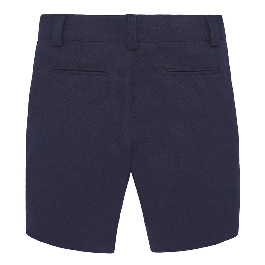 Navy Linen Short Trousers