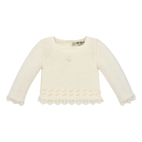Ivory Knit Baby Sweater