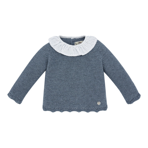 Scalloped Blue Baby Sweater
