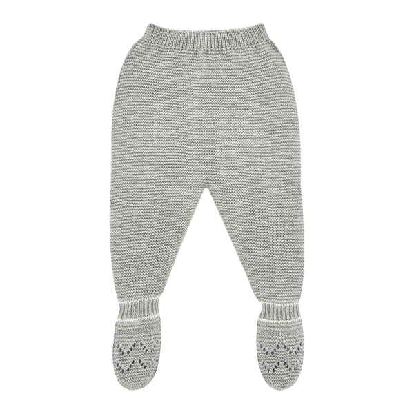 Light Gray and Ivory Knit Knit Leggings