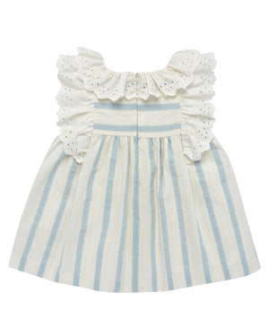 Ruffled Flutter Striped Dress