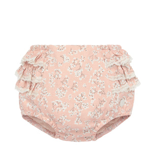 Ruffled Pink Floral Diaper Cover