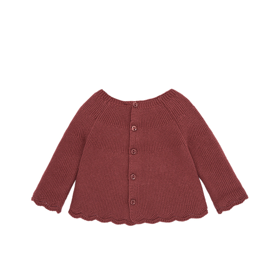 Burgundy Knit Baby Sweater