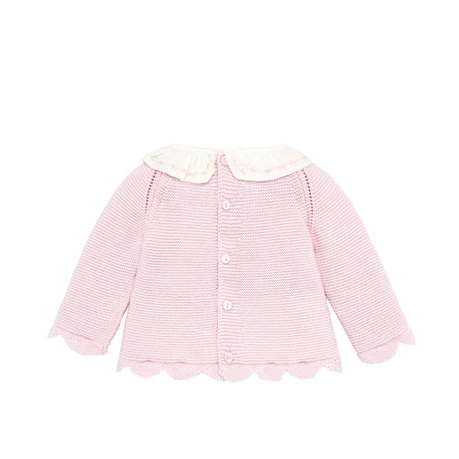 Scalloped Pink Knit Baby Sweater