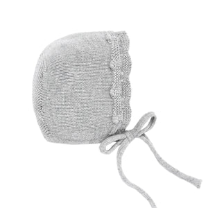 Scalloped Gray Knit Bonnet