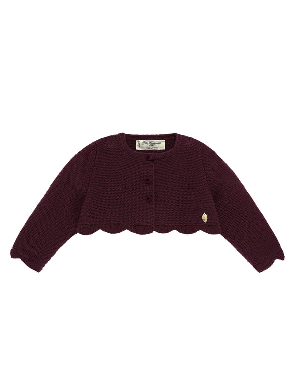 Scalloped Burgundy Cardigan