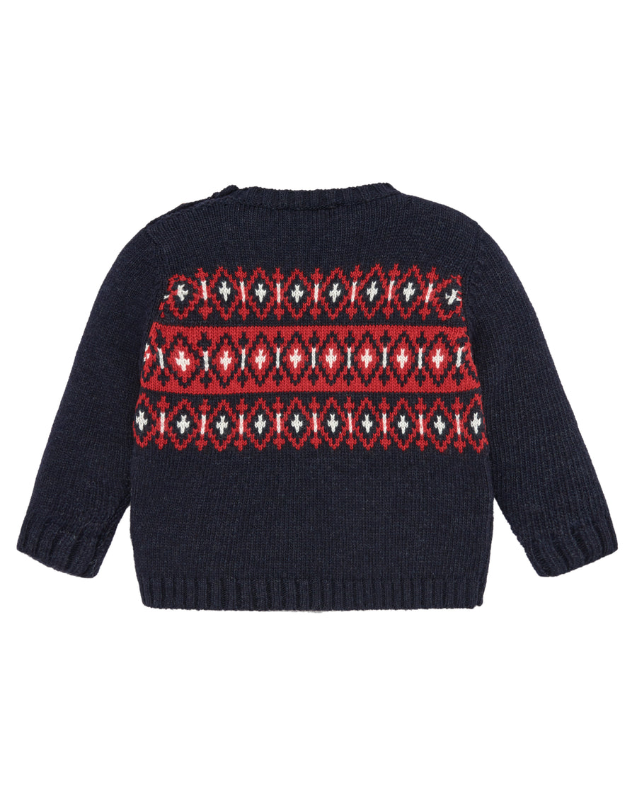 Navy and Red Diamond Sweater