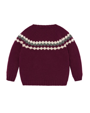 Burgundy Diamond Knit Sweater