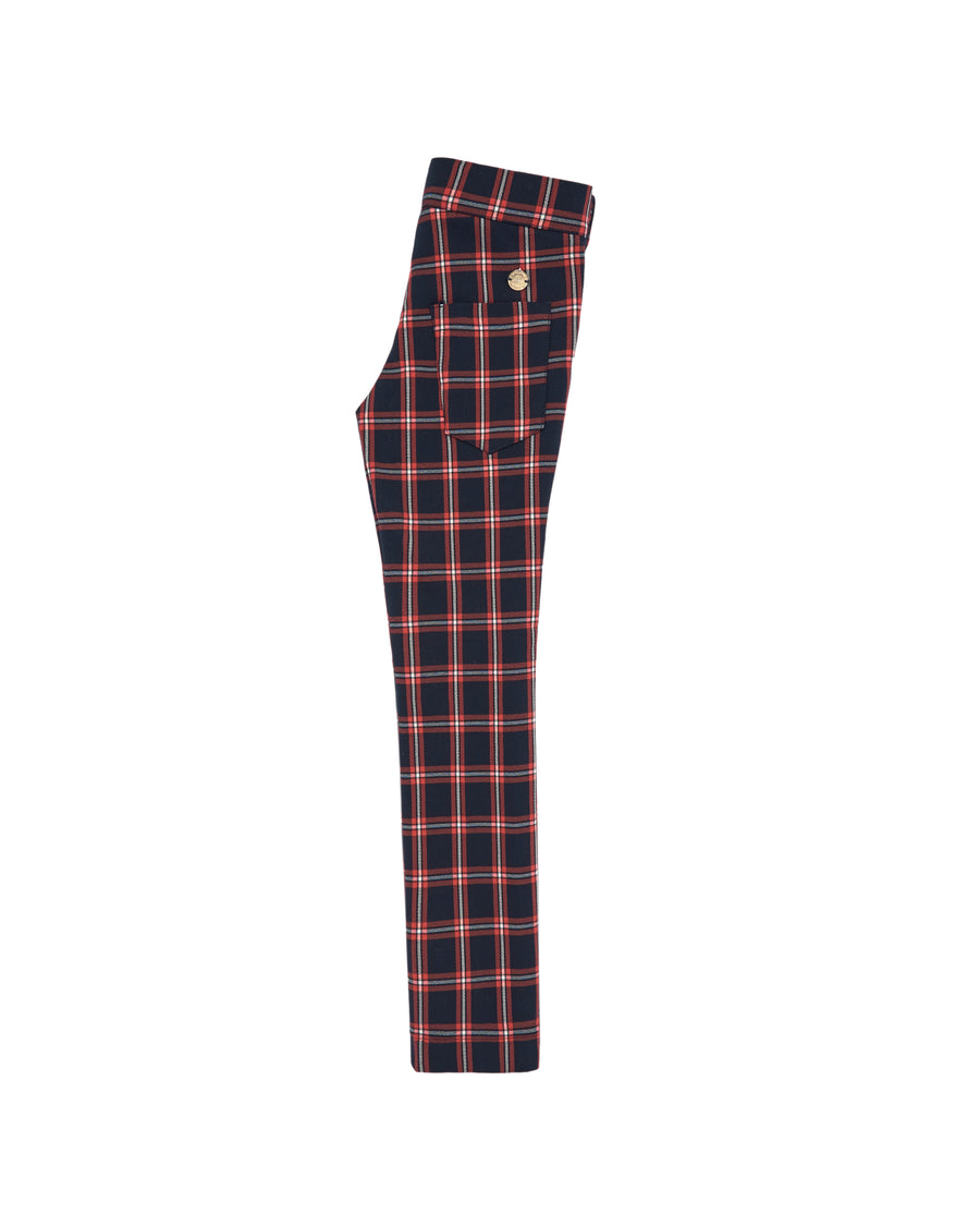Plaid Navy and Red Trousers