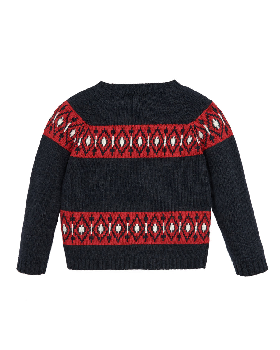 Navy and Red Winter Sweater