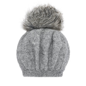 Knit Gray Beanie Hat