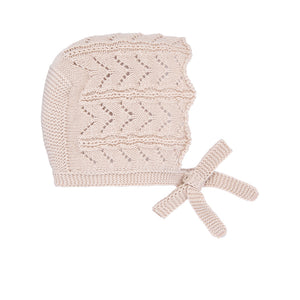 Beige Knit Bonnet