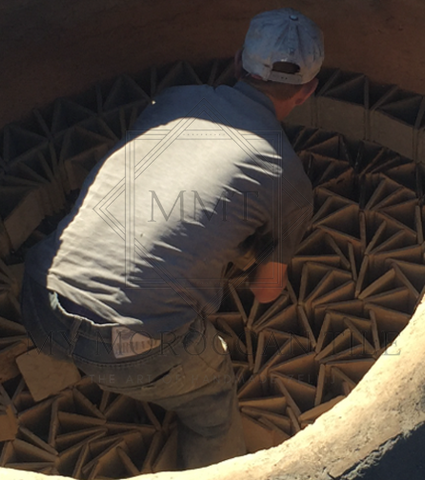 The shaped and formed clay is sundried for a second time in the shade, then baked firstly at low temperature. Once the moisture is completely out, the kiln is fired at high temperature to bake the moroccan tile.