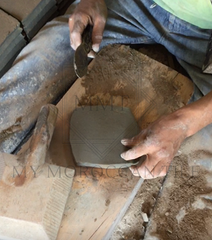 "Once sundried, the rough clay bricks are manually cut in two distinct shapes, 5 cm by 15 cm or 2"" by 6 "" for the terracotta family and 10 cm by 10 com or 4"" by 4"" for the zellij family"