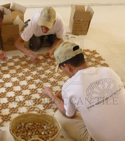 This is the last step of production where your mosaics are assembled in either interlocking units or custom fitted based on client's choice.