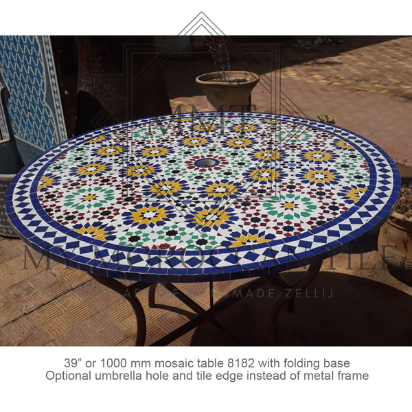 Moroccan mosaic table with mosaic 182 with umbrella hole and tile edge