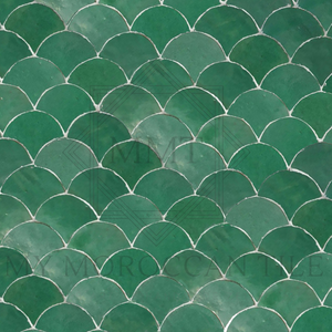Fish scale Moroccan Mosaic tile green perfect for a bathroom, kitchen or firepite