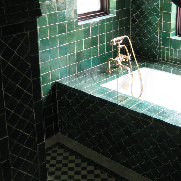Beautiful master bathroom with green moroccan mosaic tile fish scale