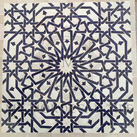 Alhambra sixteen pointed star Mosaic Tile