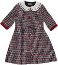 Red tweed dress with embroidered white collar and sequins