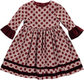Dress with printed frills with balls and burgundy velvet