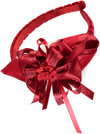 Red headband with large bow with various ribbons and handmade rose
