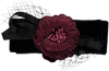 Black bow with net and burgundy flower