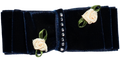Navy blue bow with white roses