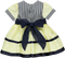 Yellow and navy blue dress with stripes and bows