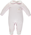 Pink babygrow with pocket and embroidered hearts