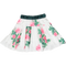 White & Pink Rose Print Skirt