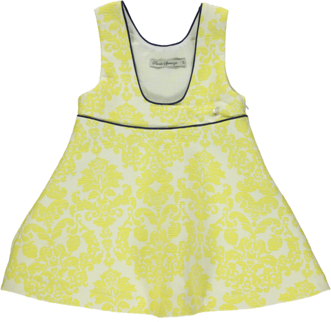 Skirt with yellow pattern straps and navy blue thin ribbon