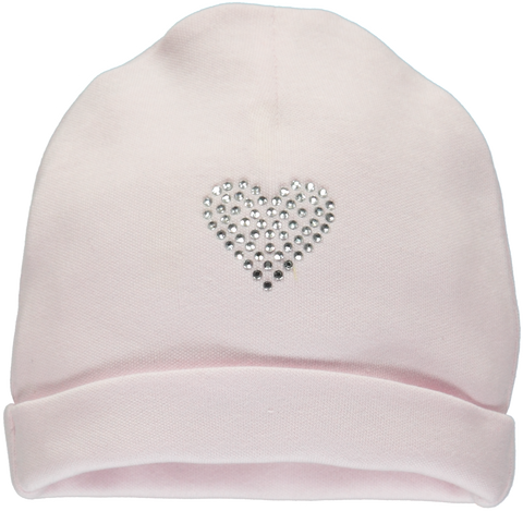 Pink baby hat with shiny heart