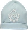 Blue baby hat with Piccola Speranza coat of arms