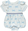 Set of white bib with blue bows and frills with frill collar sweater