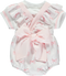 Set of white bib with pink bows and frills with white sweater