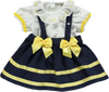 Set of blouse with frill collar and skirt with straps and bows