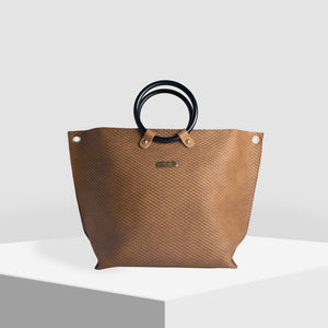 Ring Handle Tan Tote Bag - Broke Mate
