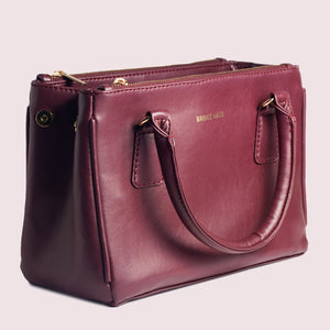 Saturdaze Wine Double Zip Satchel Bag - Broke Mate