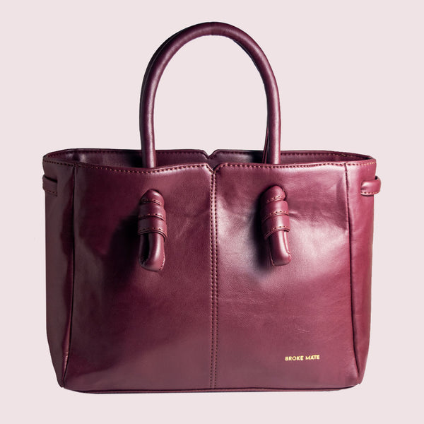 Sunday Maroon Knot Handbag - Broke Mate