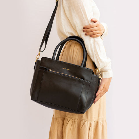 Friyay Coal Vegan Leather Bowling Bag - Broke Mate