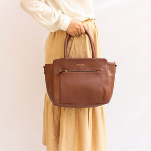 Friyay Tan Vegan Leather Satchel Bag - Broke Mate