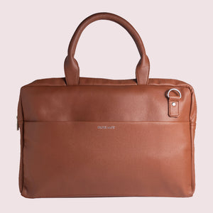 14.5 Inch  Brown Leather  Laptop Bag - Broke Mate