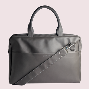 14.5 Inch Grey Leather Laptop Bag - Broke Mate